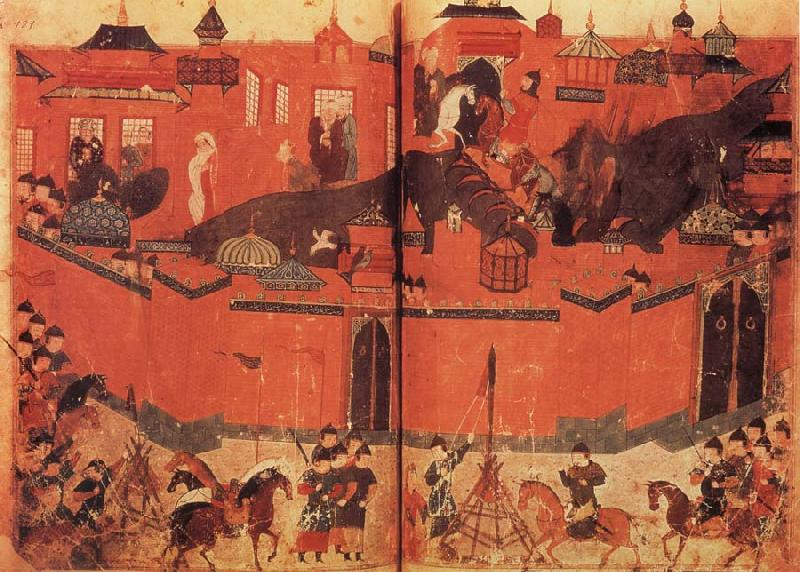 unknow artist The Mongolen Sturmen and conquer Baghdad in 1258