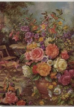 unknow artist Floral, beautiful classical still life of flowers.081