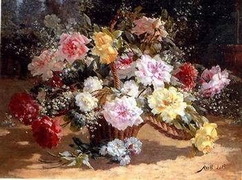 unknow artist Floral, beautiful classical still life of flowers.070
