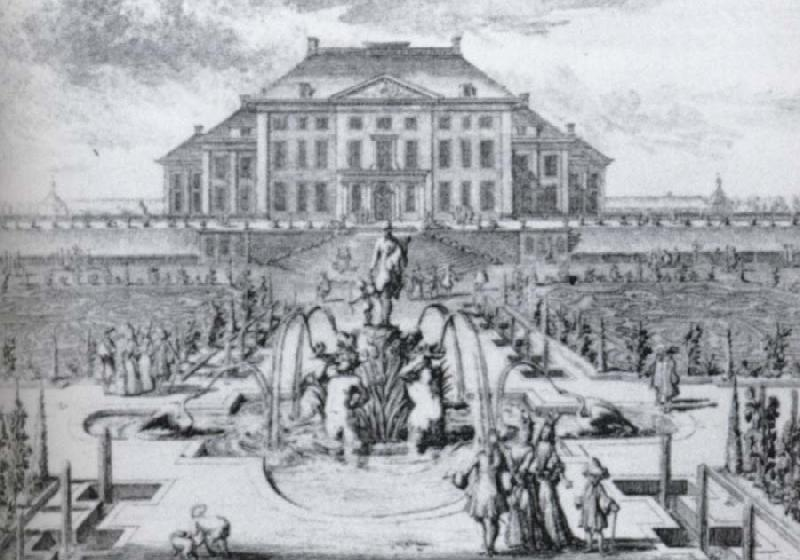 unknow artist One of a series of eight etchings of Het Loo