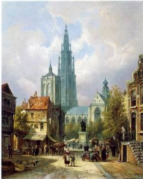 unknow artist European city landscape, street landsacpe, construction, frontstore, building and architecture.073