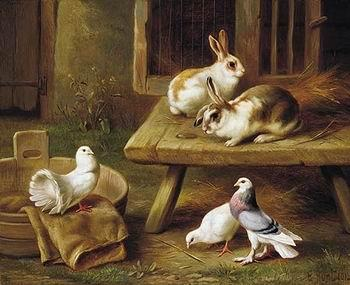 unknow artist Two Rabbits and three pigeons 069