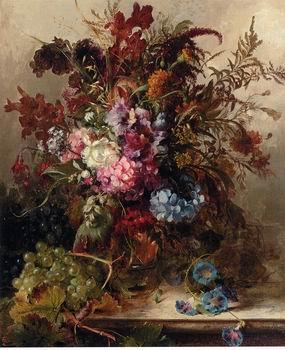 unknow artist Floral, beautiful classical still life of flowers.075