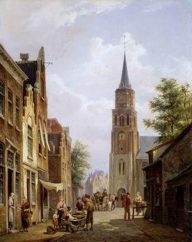 unknow artist European city landscape, street landsacpe, construction, frontstore, building and architecture. 257