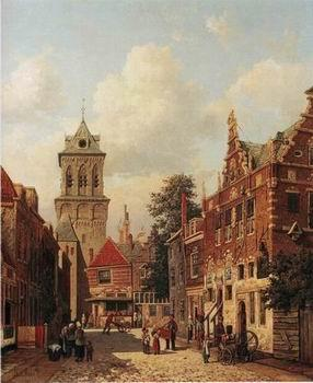 unknow artist European city landscape, street landsacpe, construction, frontstore, building and architecture. 093