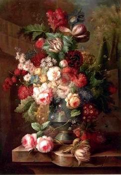 unknow artist Floral, beautiful classical still life of flowers.066