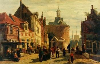 unknow artist European city landscape, street landsacpe, construction, frontstore, building and architecture. 326