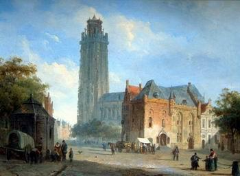 unknow artist European city landscape, street landsacpe, construction, frontstore, building and architecture.052 oil painting image