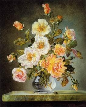 unknow artist Floral, beautiful classical still life of flowers.135