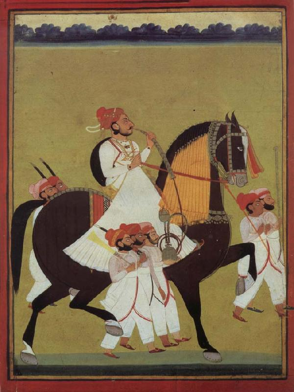 unknow artist India Kumbhawat Kesari Singh to Prerd, a hookah smoking and accompanies of its servant shafts, Jodhpur