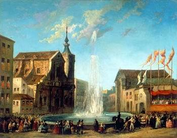 unknow artist European city landscape, street landsacpe, construction, frontstore, building and architecture. 152