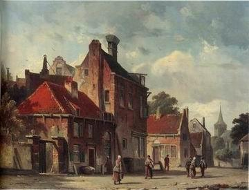 unknow artist European city landscape, street landsacpe, construction, frontstore, building and architecture. 095