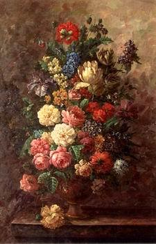 unknow artist Floral, beautiful classical still life of flowers.061
