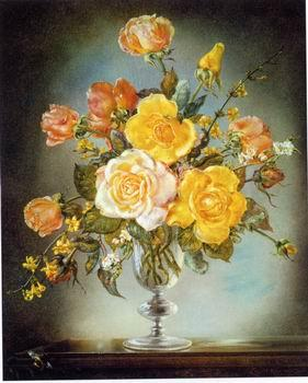 unknow artist Floral, beautiful classical still life of flowers.136
