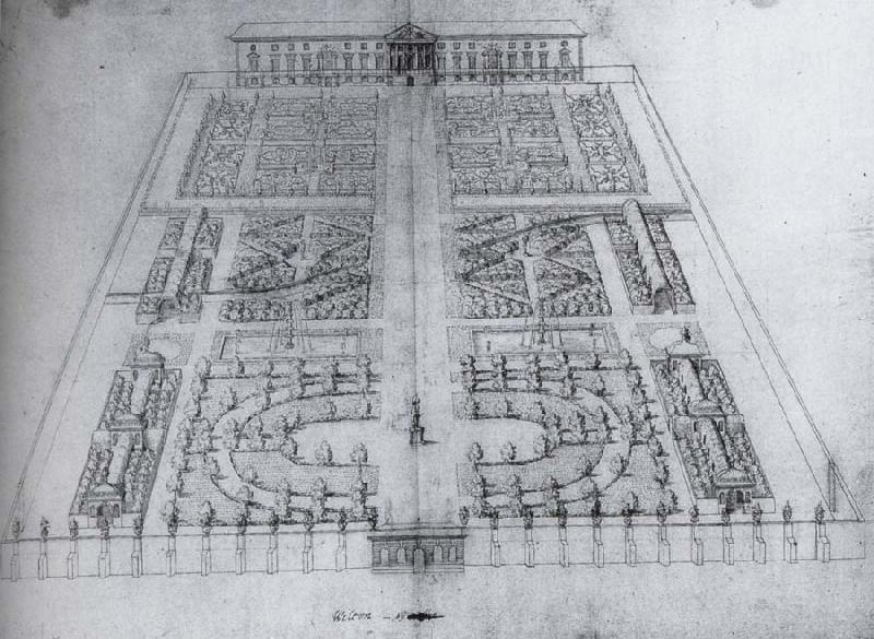 unknow artist View of the garden at Wilton,with the great classical villa as originally envisaged