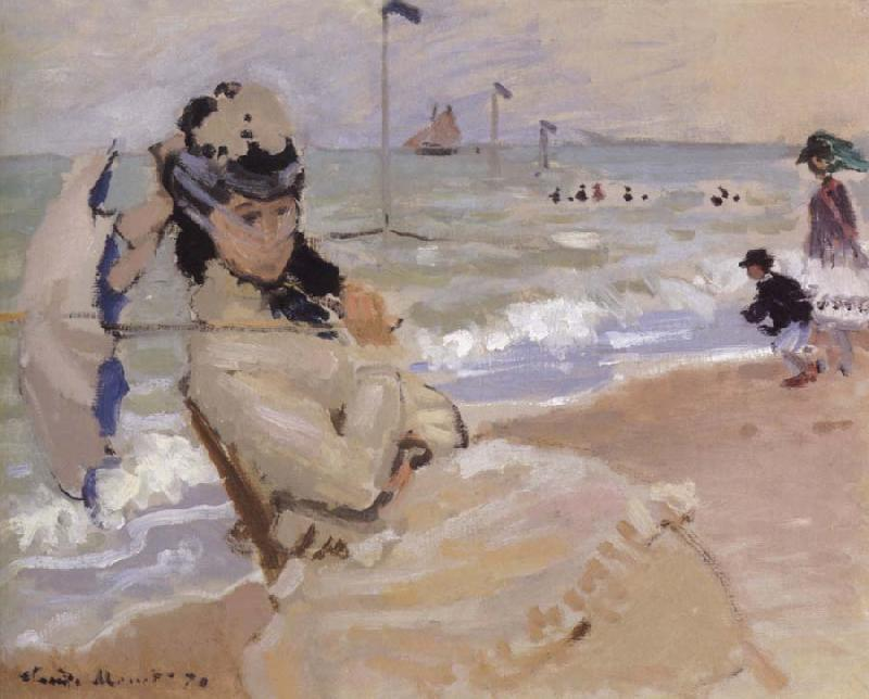 Claude Monet Camille on the Beach at Trouville