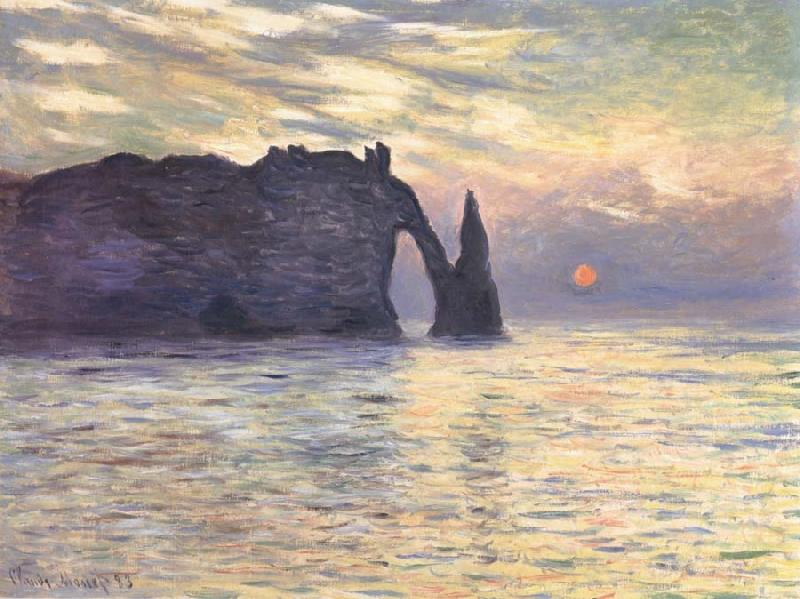 Claude Monet The Cliff,Etretat,Sunset