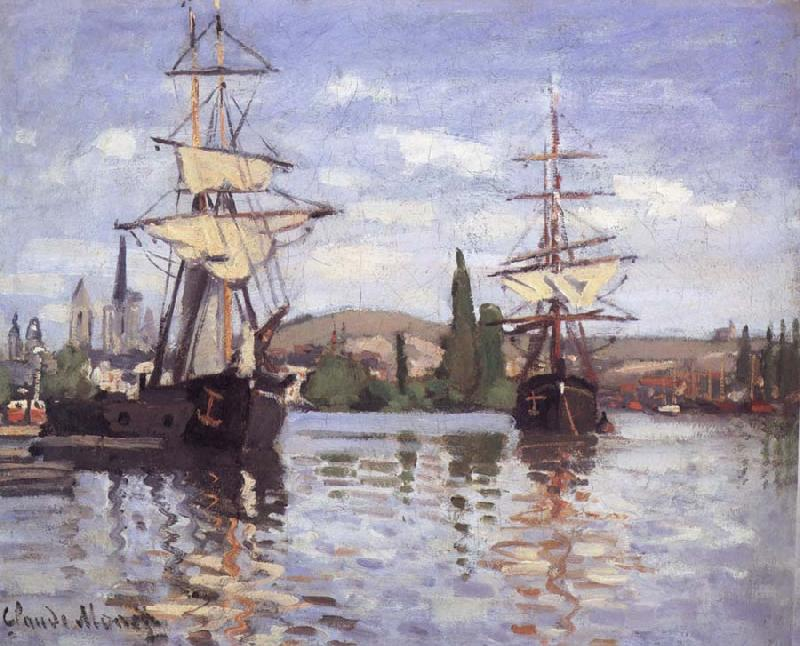 Claude Monet Ships Riding on the Seine at Rouen