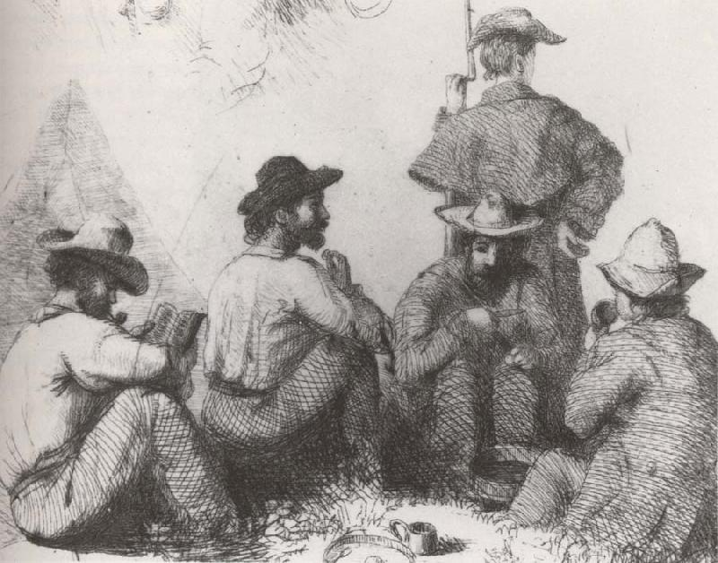 Conrad Wise Chapman Camp Scenes,Five Soldiers
