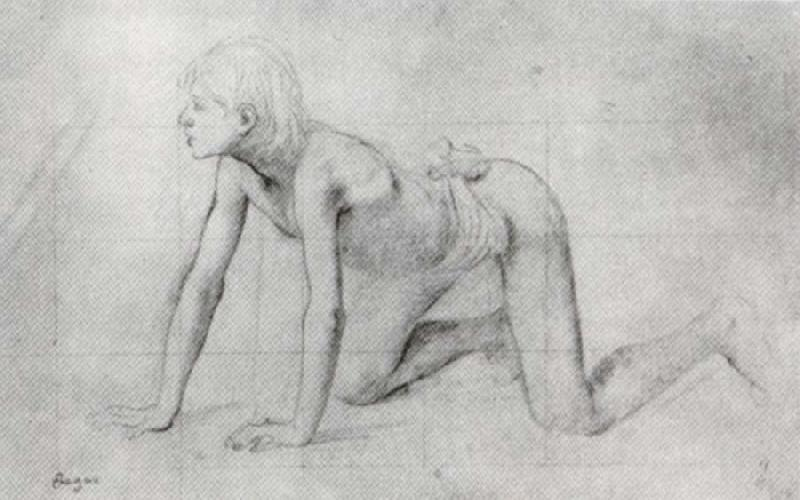 Edgar Degas Study of Kneeling Boy