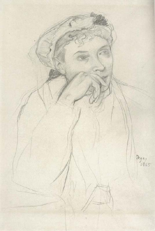 Edgar Degas Study for woman seated Beside a vass of flowers