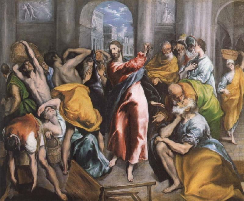 El Greco The Christ is driving businessman in the fane