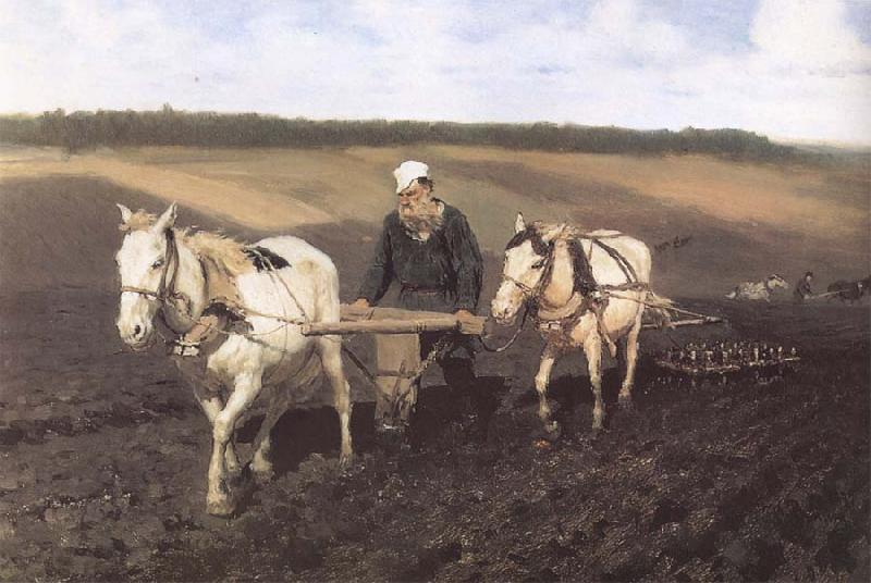Ilya Repin A Ploughman,Leo Tolstoy Ploughing