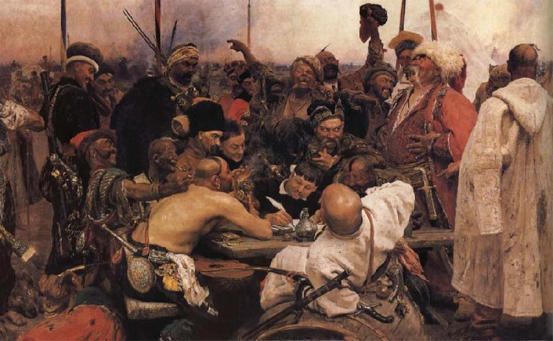 Ilya Repin The Zaporozhyz Cossachs Writting a Letter to the Turkish Sultan