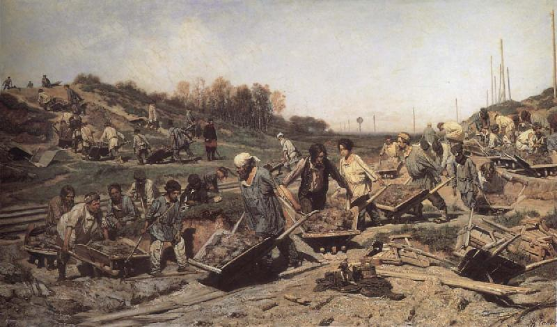 Konstantin Savitsky Repairing the railway oil painting image