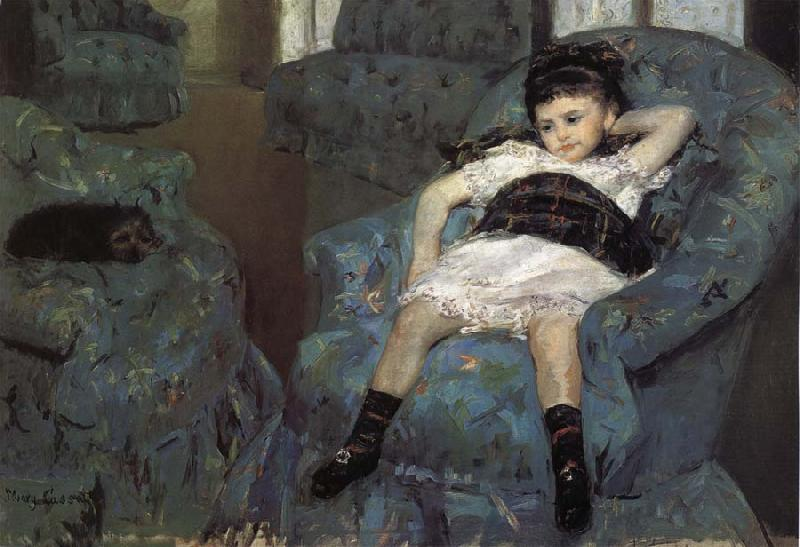 Mary Cassatt The little girl in the blue Sofa