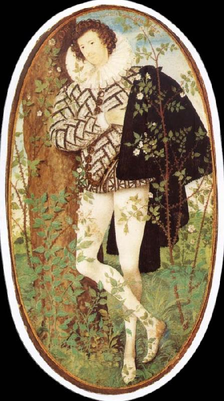 Nicholas Hilliard Leaning younger in rose bush oil painting image