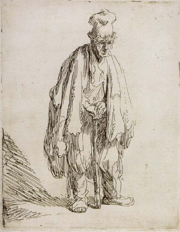 REMBRANDT Harmenszoon van Rijn Beggar in a high cap,Standing and Leaning on a stick oil painting image