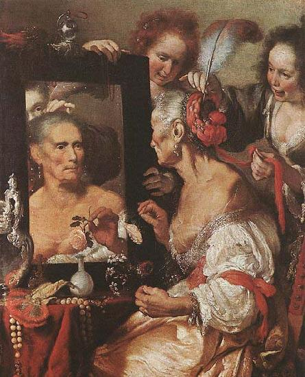 STROZZI, Bernardo Old Woman at the Mirror oil painting image