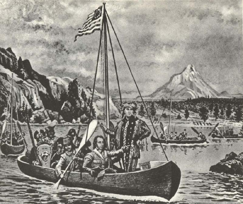 unknow artist Lewis and Clark in an cannon pa Columbia river anti closed of their fard vasterut tvars over America 1895