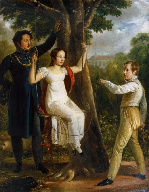 unknow artist Major Mauritz Clairfelt with sons and daughter in sway