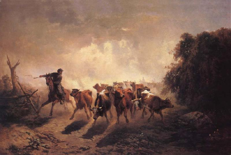 unknow artist Union Drover with Cattle for the Army