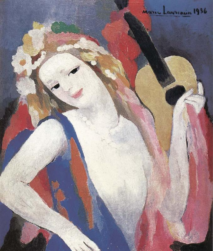 Marie Laurencin Portrait of gril holding the guitar