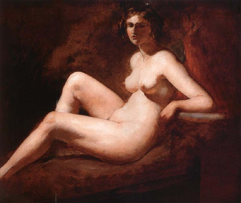 William Etty Reclining Femal Nude with Her Arm on a ledge oil painting image