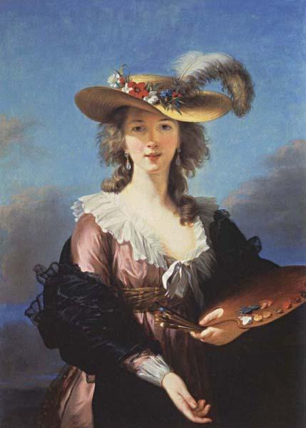 Elisabeth-Louise Vigee-Lebrun Self-Portrait in a Straw