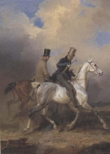 Franz Kruger Outing of Prince William of Prussia on Horse Back,Accompanied by the Artist (mk45) oil painting image