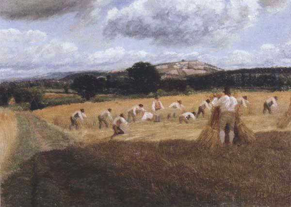 George Robert Lewis Dynedor Hill,Herefordshire,Harvest field with reapers (mk47) oil painting image