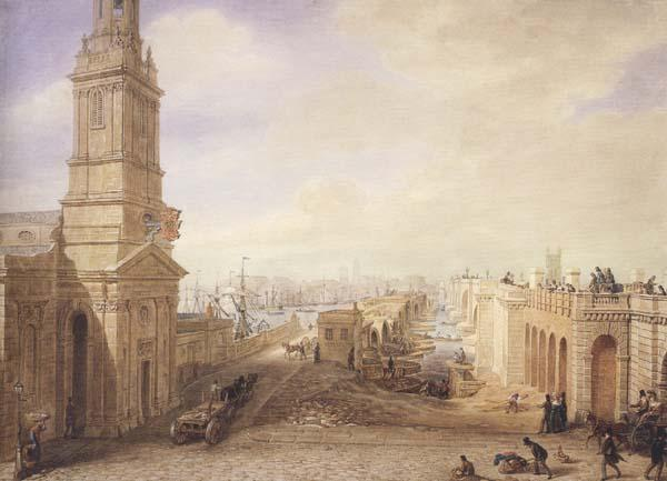 George Scharf Old and New London Bridges as they appeared in December 1831 (mk47) oil painting image