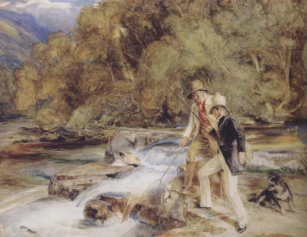 John Frederick Lewis Piscator look you now,you see him plain bring hither the landing net a good one,sixteen inches long See lzaak Walton (mk47) oil painting image