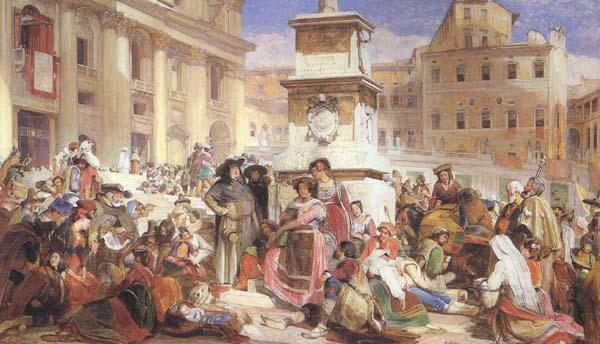 John Frederick Lewis Easter Day at Rome (mk46) oil painting image