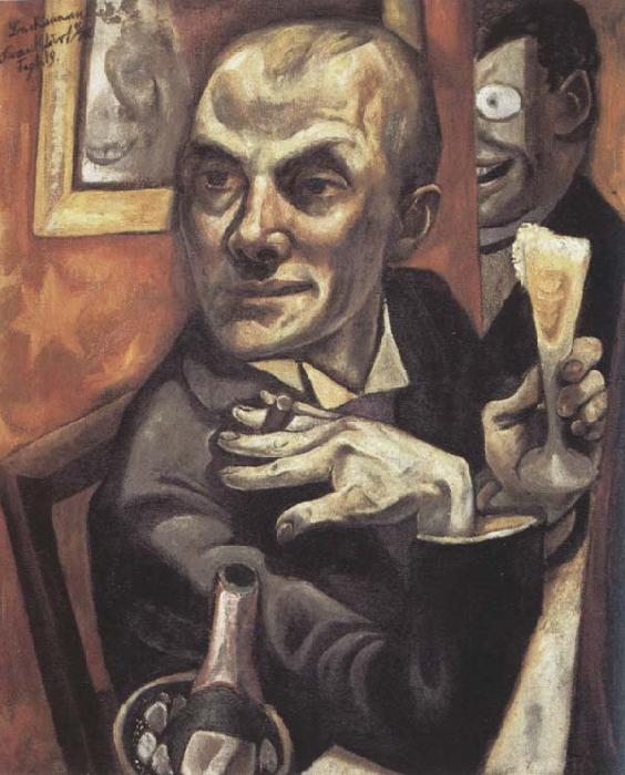 Max Beckmann Self-Portrait with a Glass of Champagne oil painting image