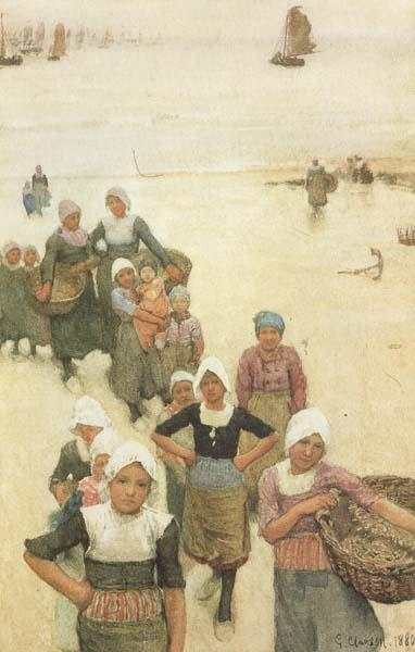 Sir George Clausen,RA Fisher Girls on the Beach (mk46) oil painting image