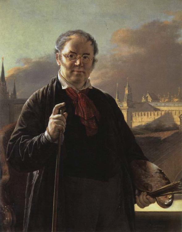 Vasily Tropinin Self-Portrait by a Window with a View on the Kremlin oil painting image