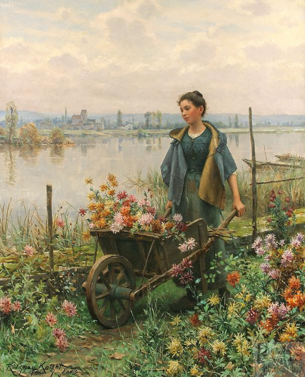Daniel Ridgeway Knight Gathering Flowers