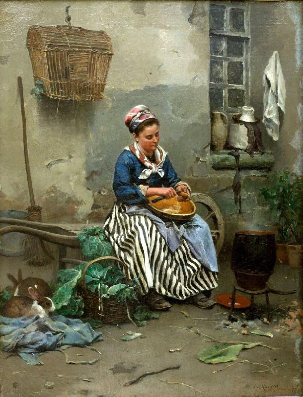 Daniel Ridgeway Knight prepaing the meal oil painting image