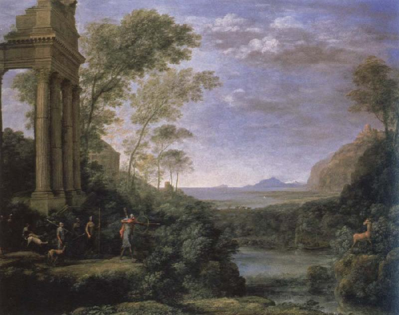 claude lorraine landscape with ascanius shooting the stag of sylvia